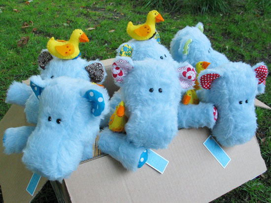 Hippos in box ready to be shipped